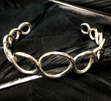 Twist Design Adjustable Cuff Bracelet Vintage Estate Sterling Silver Sturdy