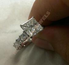 14k White Gold Over 2.5 Carat Diamond Princess Wedding Engagement Ring