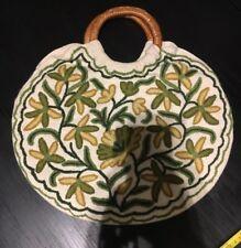Bag, Embroidered, Green, Basket Handles