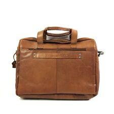 Spikes And Sparrow Premium Leather Sawyer Business Bag In Brandy Brown