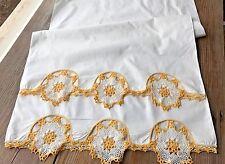 A+ Vintage White Cotton Bolster Tube Pillow Case Yellow Gold Crochet Lace 22X68
