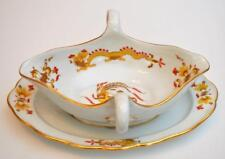 """Antique MEISSEN Crossed Sword Mark Yellow DRAGON Red Accents 8 3/4"""" Greavy Boat"""