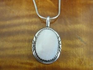Pink Mother of Pearl with Design Sterling Silver 925 Pendant Chain Necklace
