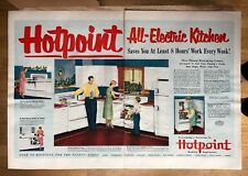 Original Print Ad 1951 HOT POINT All-Electric Kitchen 2 Page