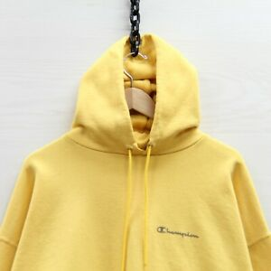 Vintage Champion Sweatshirt Hoodie Size 2XL Yellow Spell Out