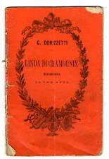 Libretto d'Opera Linda di Chamounix Melodramma di Rossi 3 Atti Gaetano Donizetti