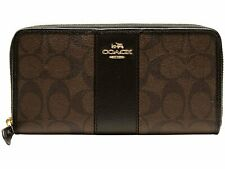 Coach Accordion Zip Wallet In Signature Coated Canvas With Leather Stripe F54630