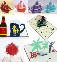 3D Pop Up Greeting Cards Happy Birthday Love Gift Holiday Invitations Postcards