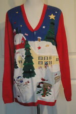 Quacker Factory Flag Themed Christmas Sweater Angel Ramie Cotton L B44