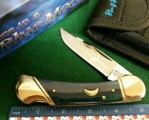 Rough Rider RR1192 Blue Moon Lockback knife, Blue bone handles, new in box