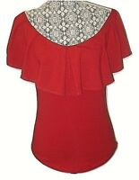 Free People Womans Med Red Cotton Dress Top Blouse Shirt Size M