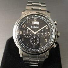 Mens Bulova Watch Black Dial Chronograph Steel 96B202 Round Classic Genuine