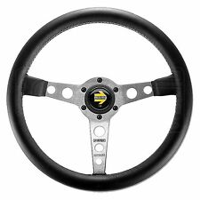 MOMO Prototipo Steering Wheel - Leather - Silver Spokes - 350mm