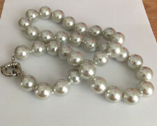 12mm Natural Gray South Sea Shell Pearl Silver Clasp Necklace 18'' AAA