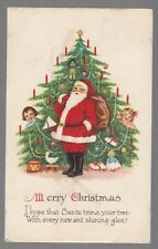 [54033] OLD CHRISTMAS POSTCARD SANTA CLAUS NEXT TO TREE WITH HIDING CHILDREN