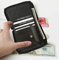 Black Genuine Leather Zip Around Mens Bifold Wallet Coin pocket New