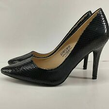 """Pieces Ladies UK 5 Black Stiletto Faux Snake Dress Shoes Pointed Toe 3.75"""" Heels"""