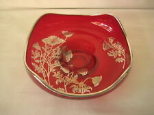 Red bowl w/ silver over lay, no markings, quality vintage red glass