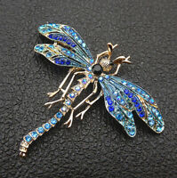 Women's Blue Enamel Crystal Rhinestone Dragonfly Insect Brooch Pin