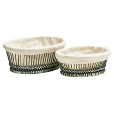 Premier Set of 2 Bread Veg Fruit Baskets Grey Bamboo Rustic Design with Liners