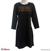 Women's Casual T-Shirt Dress Calvin Klein Long Sleeve Black 3 Logo Front Size M