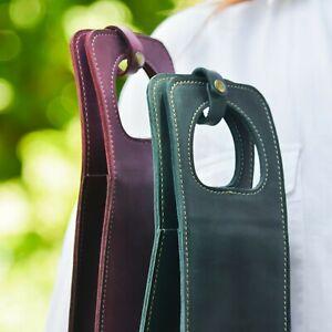 Leather Wine Bottle Carrier Holder Tote Bag Sleeve For Bottles Bartender Gift