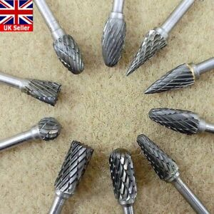 10Pcs Tungsten Steel Solid Carbide Burrs For Dremel Rotary Bit Accessories Tool