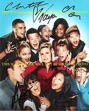 GLEE CAST SIGNED 8x10 RPT PHOTO BY 7 CORY MONTEITH LEA MICHELE CHRIS COLFER +