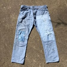 Vintage Sears Roebuck Denim Jeans Repaired Patched Oily 36x28 Scovill Zipper