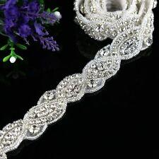 1 Yard Silver Rhinestone Trim Crystal Rhinestone Applique DIY For Wedding Sash
