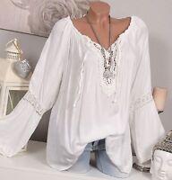 ITALY Bluse TUNIKA Vintage HÄKEL Spitze OVERSIZE Creme Weiß Shirt 38 40 42