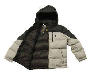 Polo Ralph Lauren Boys Grey/Black Colorblock Snap-Off Hood Puffer Jacket