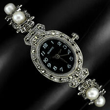 Sterling Silver 925 Antique Design Button Pearl and Marcasite Watch 7.5 Inches