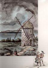 AQUARELLE COULEUR VIEUX MOULIN/ Moulin du Seigneur de Restou Camaret Finistère