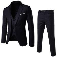 3pcs Set Men Suit Blazer Coat Slim Fit Gentle Formal Pants Vests Wedding Party*