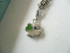 PIERRE LANG* kleiner Charm Anhänger grünes Herz auf Glücksklee silber rhodiniert