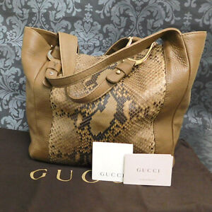 Rise-on GUCCI Python Leather Brown Tote Bag #78