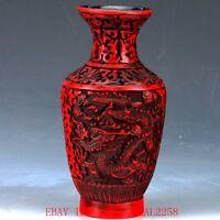 Chinese lacquerware Handwork Carved Flower Vase QQ13.c
