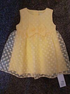 Bnwt Baby Girls Beautiful Yellow  F&F Lined Dress 6-9 Months