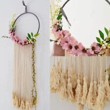"32"" Boho Large Macrame Fringe Tassel Floral Flower Dream Catcher Wall Hanging"