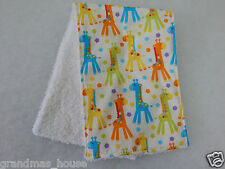 Burp Cloth Bright Giraffes - 1 Only Towelling Back Great Gift Idea!