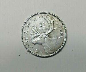 CANADA : SILVER 25 CENT 1945.  0.800 SILVER. KM 35.