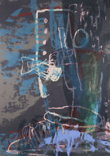Ann THOMPSON - Blue, Teal and Grey Abstract - original signed Australian print