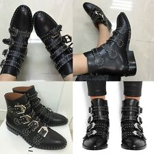 Ladies Punk Real Leather Studded Buckle Strap Ankle Boots Shoes Plus Size TD109