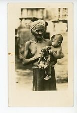Nude Old Lady w Puppy & Baby RPPC Vietnam? Cambodia? Antique Cute Photo 1920s
