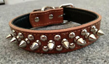Real Leather Dog Collar spikes Blue Black Brown Red Pink Studs small to large