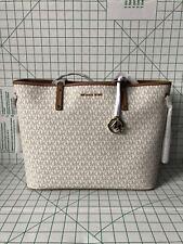 NWT Michael Kors Jet Set Travel Large Drawstring Tote Vanilla Signature Bag