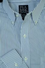 Jos A Bank Men's Traveler's White Black Blue Stripe Cotton Dress Shirt 15.5 x 32