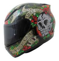 MT Revenge SKULL & ROSES Full Face Motorcycle Sport Helmet  Red / BLACK + Visor