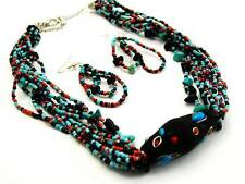Multi Strand Turquoise Black And Red Glass Seed Bead Necklace Earring